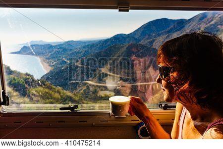 Tourist Woman In Camper Rv Drinking Coffee And Enjoy Coast View From Viewpoint Mirador De La Granati