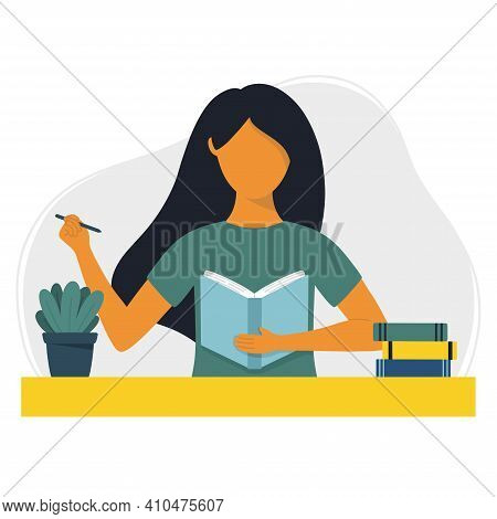 Woman Writes In A Notebook Or Diary. Writing, Studying And Reading Concept. Flat Vector Illustration