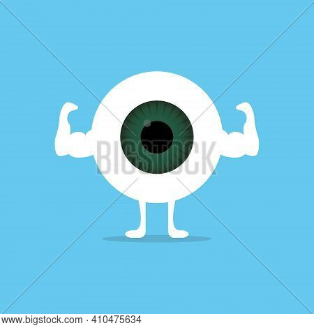 Strong And Healthy White Eye On Blue Background. Flat Cartoon Character. Muscles Of Eyeball. Vector