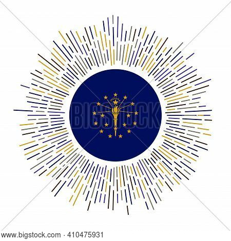 Indiana Sign. Us State Flag With Colorful Rays. Radiant Sunburst With Indiana Flag. Vector Illustrat