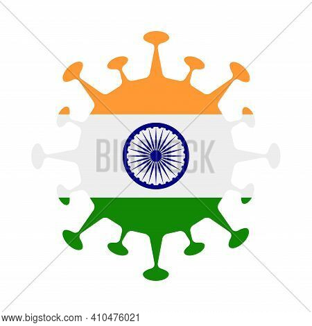Flag Of India In Virus Shape. Country Sign. Vector Illustration.