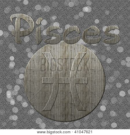 An image with pisces sign and text in a grey background. Has vintage wooden style and bokeh in background. poster