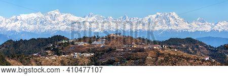 Mount Chaukhamba Village And Terraced Fields, Himalaya, Panoramic View Of Indian Himalayas Mountains