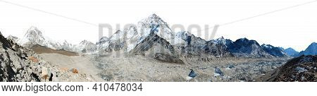 Panoramic View Of Khumbu Glacier Mount Pumori And Nuptse Isolated On White Sky Background, Kala Patt