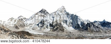 Mount Everest, Lhotse And Nuptse From Kala Patthar Isolated On White, Panoramic View Of Himalayas Mo