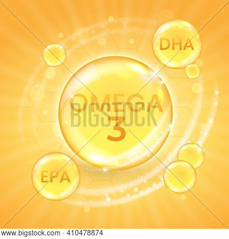 Omega-3 Fatty Acid Supplement, Shiny Oil Vitamin Capsule. Fish Oil Droplet Design Template For Adver