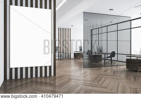 White Poster With Copyspace On Striped Wall In Modern Open Space Office With Eco Style Interior, Par