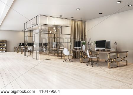 Modern Spacious Cabinet With Glass Walls In Stylish Office With Wooden Tables On Bronze Legs. 3d Ren