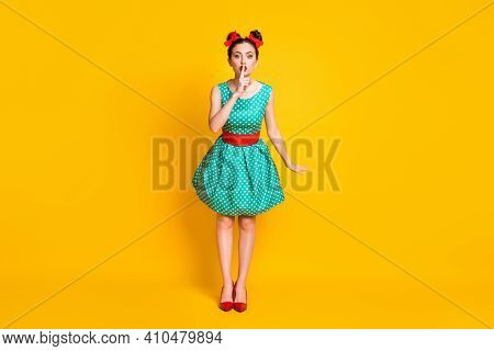 Full Length Body Size View Of Nice Pretty Girl Wearing Teal Dotted Dress Showing Shh Sign Isolated O