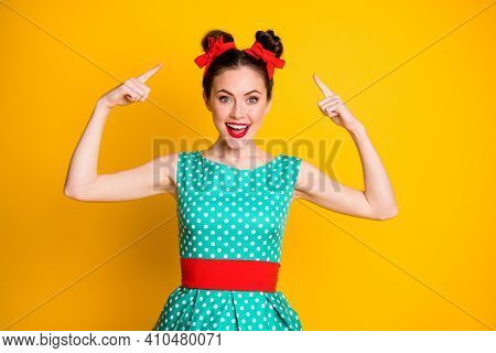Portrait Of Nice Amazed Cheery Girl Wearing Teal Dotted Dress Showing New Hairdo Isolated Over Vibra