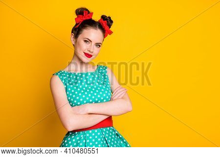 Portrait Of Nice Pretty Glamorous Content Cheery Girl Wearing Dotted Dress Folded Rams Isolated On B