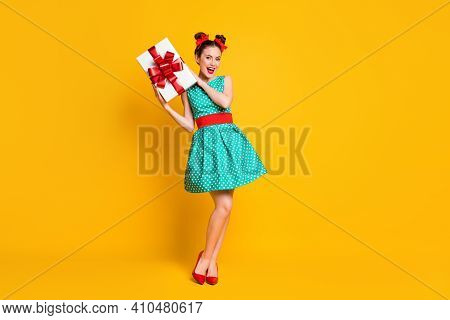 Full Length Body Size View Of Nice Attractive Cheerful Girl Holding In Hands Romantic Giftbox Isolat