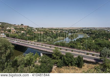 View Of Cava Bridge Over The River Tagus In The City Of Toledo, Spain