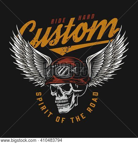 Motorcycle Vintage Colorful Label With Skull In Moto Helmet And Goggles With Eagle Wings Isolated Ve