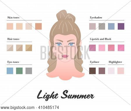 Women Color Types Analysis - Light Summer Type. Characteristics Of Colortype And Best Palette For Ma