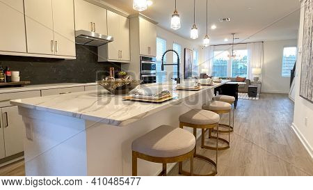 A Beautifully Appointed Kitchen In A Townhome In Orlando, Florida.