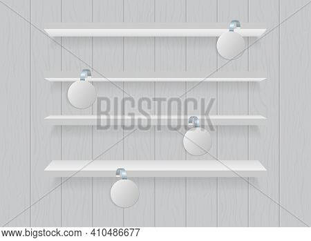 Wobbler On Shelf Of Supermarket. Mockup Of Sticker For Sale, Price And Product. Round Template With