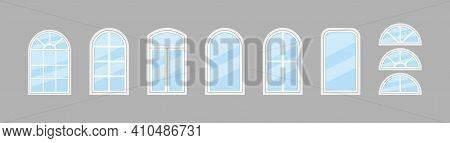 Glass Window. Windows With Frame And Arch For House, Office. Icon Of Double Window For Balcony. Hung