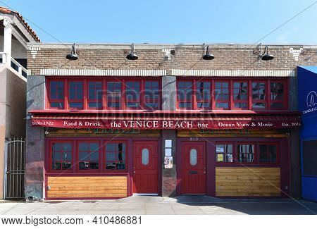 VENICE, CALIFORNIA - 17 FEB 2020: The Venice Beach Bar is one of the last standing Live Music Venues in the heart of the famed Venice Beach Boardwalk.