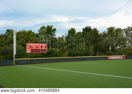 ITHACA, NEW YORK - SEPT 26, 2018: Score board and field at the Niemand-Robison Softball Field at Cornell University Campus.