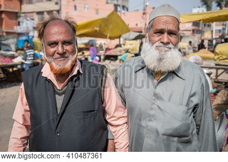 Jaipur, India. 09-05-2018. Portrait Of Two Men Working In The Local Market In The Center Of Jaipur.