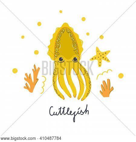 Cute Hand Drawn Cuttlefish. Nursery Design. Flat Illustration.