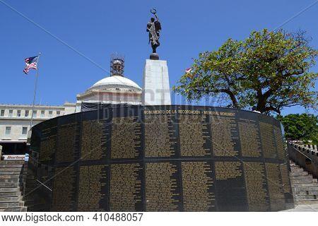 PUERTO RICO- MAY 19, 2012: Walkway of the Presidents Memorial Wall, San Juan, Puerto Rico.