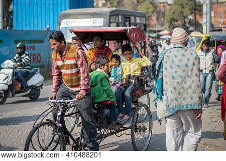 Jaipur, India. 09-05-2018. Family Is Using A Bicycle As The Transportation In The Local Market In Th