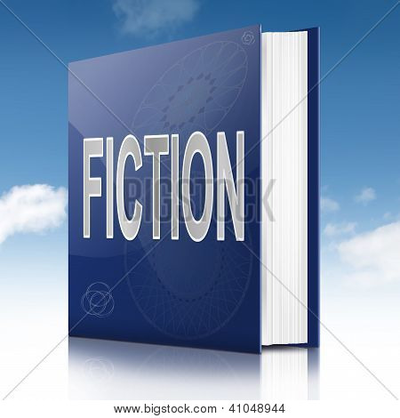 Illustration depicting a book with a fiction concept title. Sky background. poster