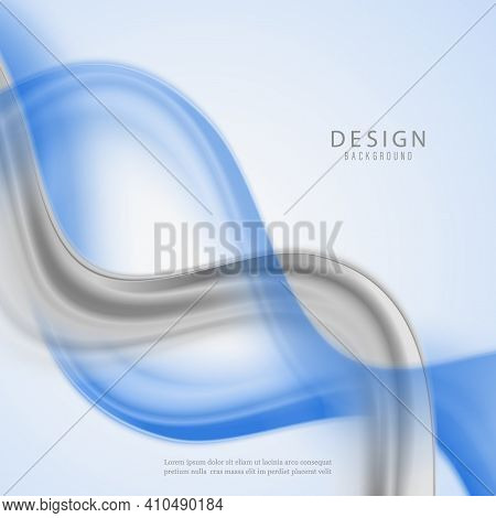 Blue Gray Abstract Wave Background Blue Wave Flow Gray Wave Flow