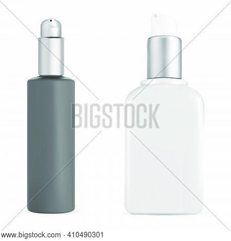 Pump Bottle. Cosmetic Mousse Dispenser. Wash Cream Product Mockup Isolated On White Background. Pet