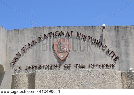 PUERTO RICO- MAY 19, 2012: San Juan National Historic Site, sign, Puerto Rico.