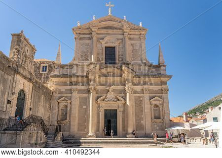 Dubrovnik, Croatia - Aug 20, 2020: Front Fracade Of St. Ignatius Church In Old Town In Summer