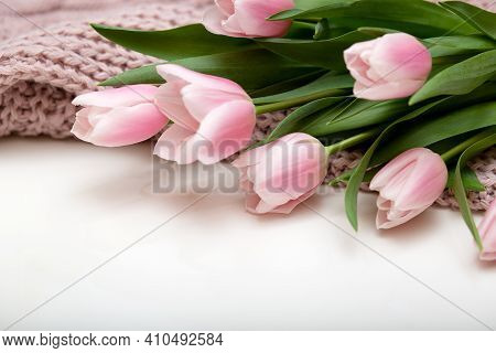 Bunch Of Pink Tulip Flowers On White Background Close Up, Spring Cozy Copmosition Flowers Banner. Mo