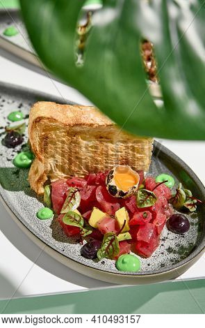 Tuna tartar with quail egg and toast bread. Raw fish tartare restaurant appetizer on white table with green wall. Day sunlight with hard shadow of monstera palm leaves. Summer or spring food concept