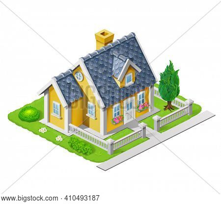 Isometric 3D house illustration adapted for use in games and large scenes of settlements and cities. Freehand illustration of an beautiful house surrounded by grass, trees and flowers.