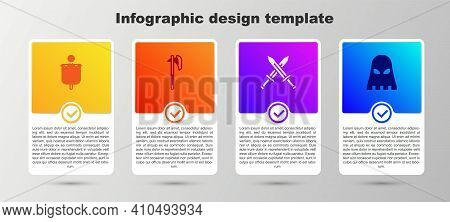 Set Medieval Flag, Axe, Crossed Medieval Sword And Executioner Mask. Business Infographic Template.