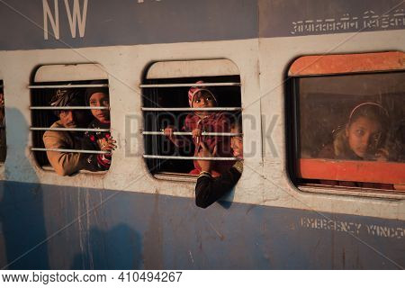 Jaipur, India. 09-05-2018. Portrait Of A Family Waiting The Train To Start At The Main Train Station
