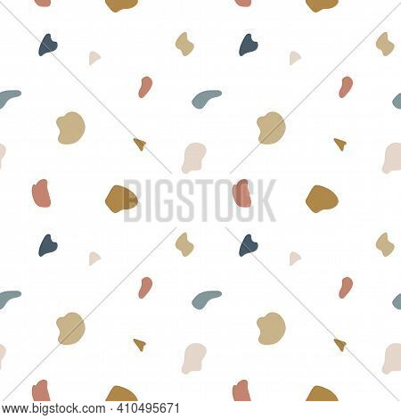 Terrazzo Flooring Seamless Pattern. Vector Mosaic Texture Of Natural Stone Fragments, Marble, Granit