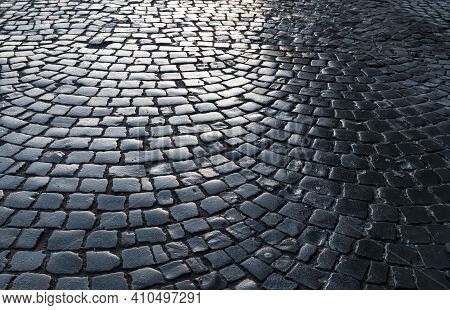 Streets Of The Old Town. Stone Paving Texture. Abstract Structured Background.