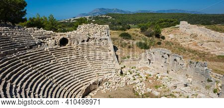 Ruins of Amphitheatre in Patara the ancient Lycian city, Archaeological site in Turkey