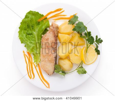 fish and potatoes served isolated on white background poster