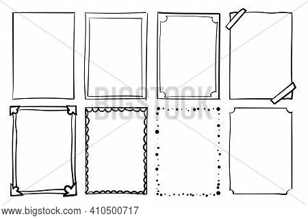 Hand Drawn Frames. Handdrawn Scribble Simple Box. Vector Empty Drawing Borders.