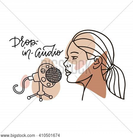 Woman Recording Sound Using A Microphone. Blogger Or Influencer Recording New Content For Social Med
