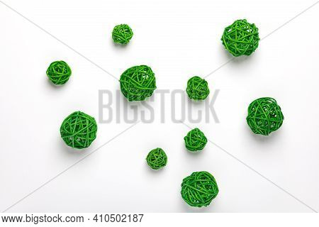 Green Decorative Rattan Ball, Spanish Cane, Calamus Stems. Chaotic Wicker Ball Or Circle Shape. An I