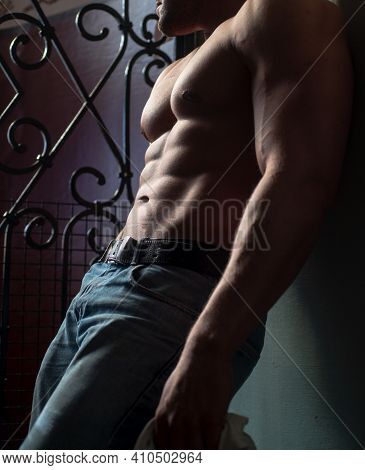 Bare Torso Man, Male Abs And Body. Naked Man. Nude Male Torso. Sexy Body