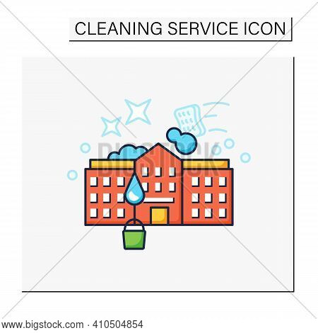 School Cleaning Color Icon. Cleanup Rooms. Classroom Disinfection. Safety Space And Preventative Mea