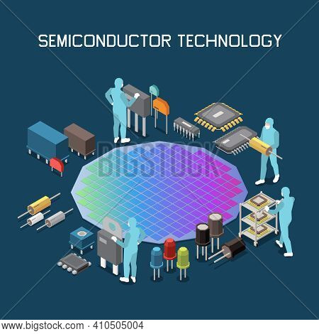 Semiconductor Chip Production Isometric Composition With Editable Text And Gradient Colored Silicon