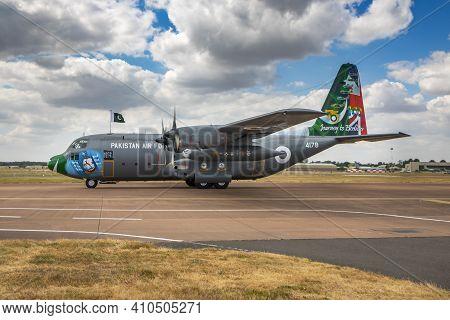 Fairford, United Kingdom - July 11, 2018: Pakistan Air Force Lockheed C-130e Hercules 4178 Transport