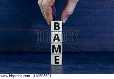 Bame Symbol. Abbreviation Bame, Black, Asian And Minority Ethnic On Wooden Cubes. Beautiful Grey Bac